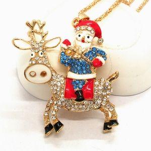 Christmas Santa and Elk Crystal Necklace